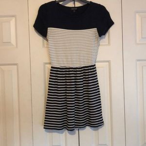 Topshop navy and white striped dress size 4
